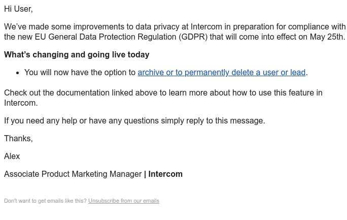 Screenshot of email from: Alex from Intercom <alex.yamamoto@intercom.io>