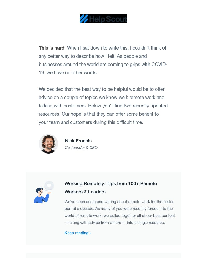 Screenshot of email from: yourfriends@helpscout.com