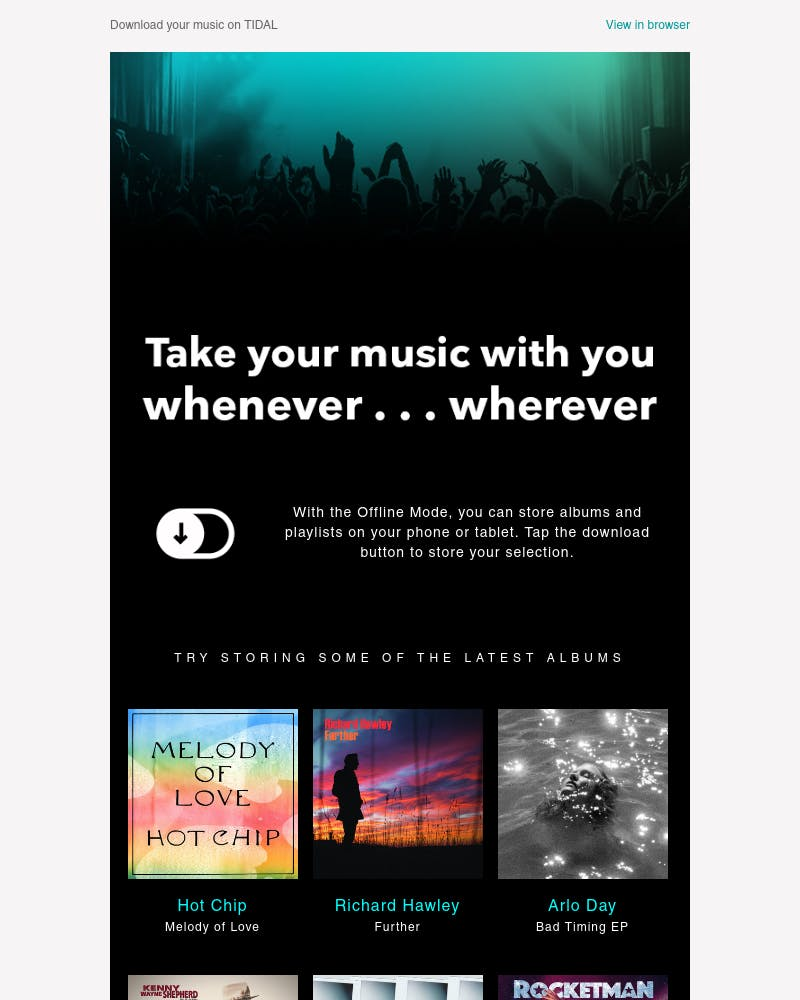 Screenshot of email from: hello@mail.tidal.com