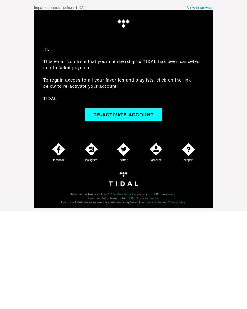Screenshot of email from: service@account.tidal.com