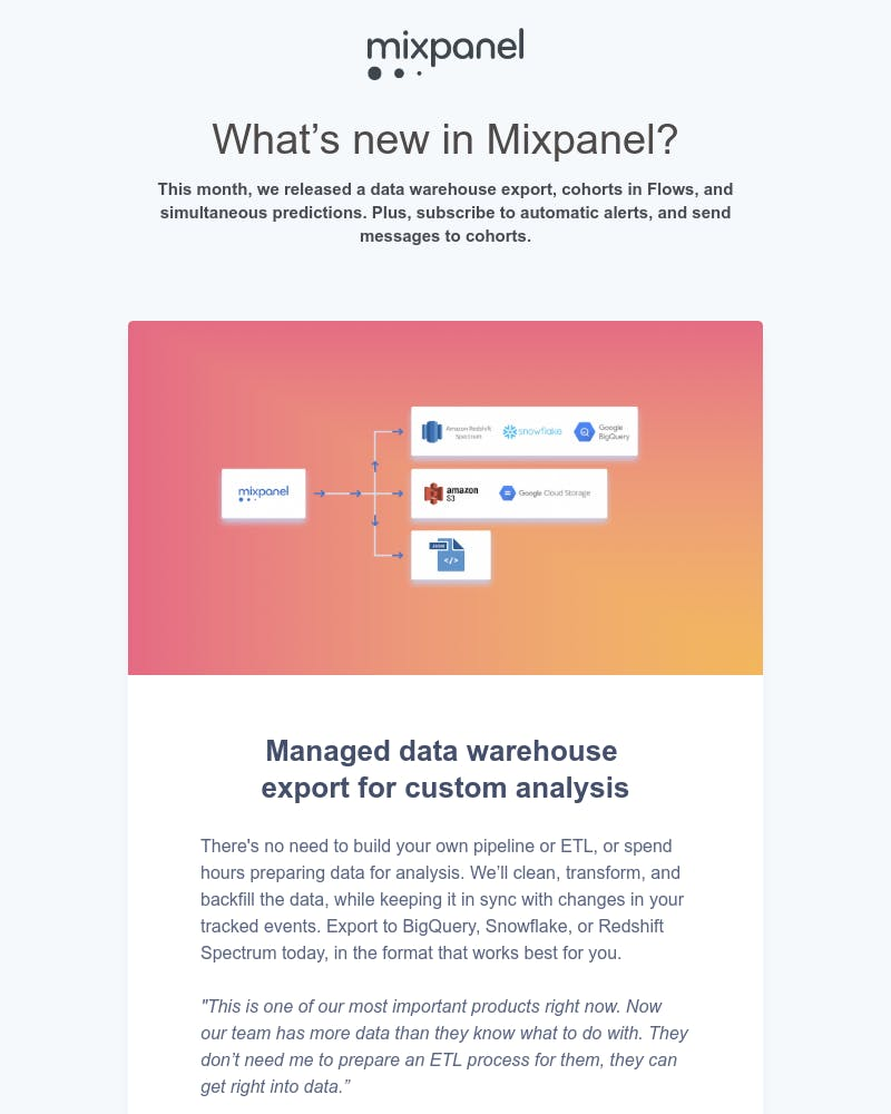 Screenshot of email from: product-updates@mixpanel.com