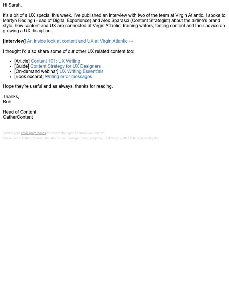 Screenshot of email from: rob@gathercontent.com
