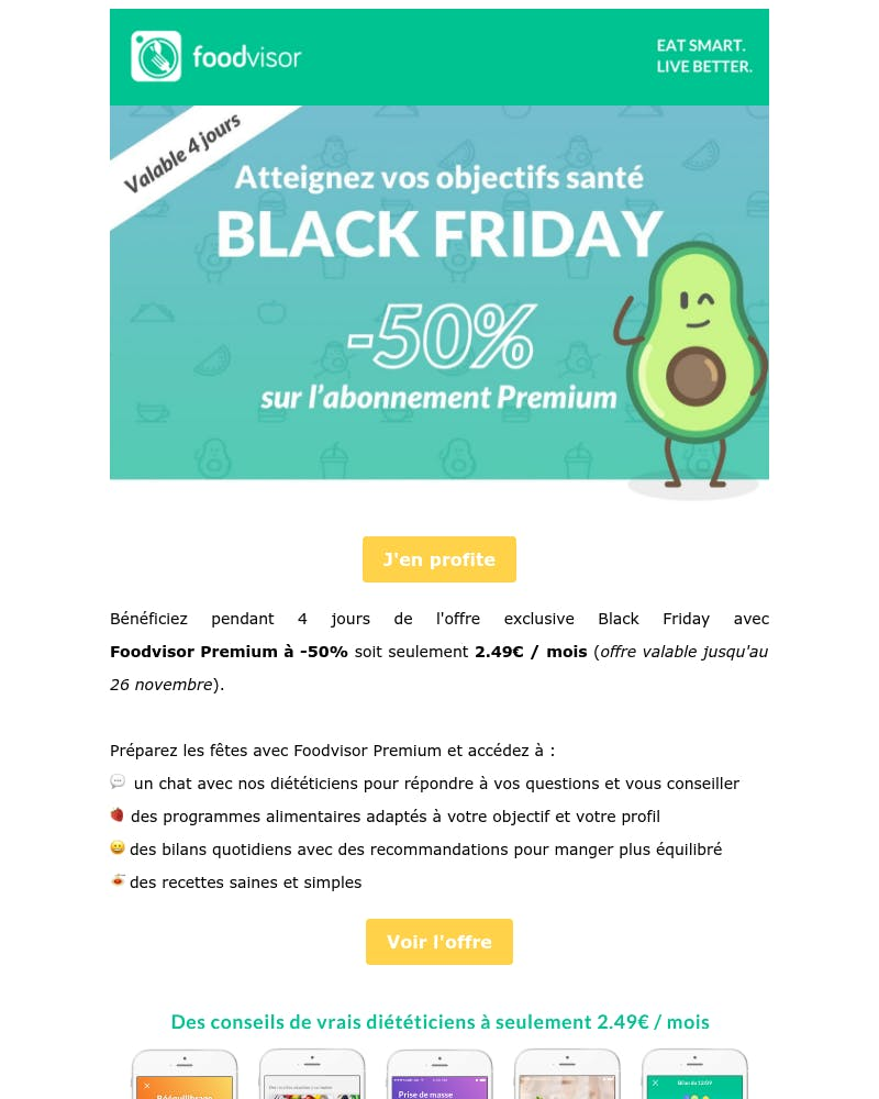 Screenshot of email from: contact@foodvisor.io