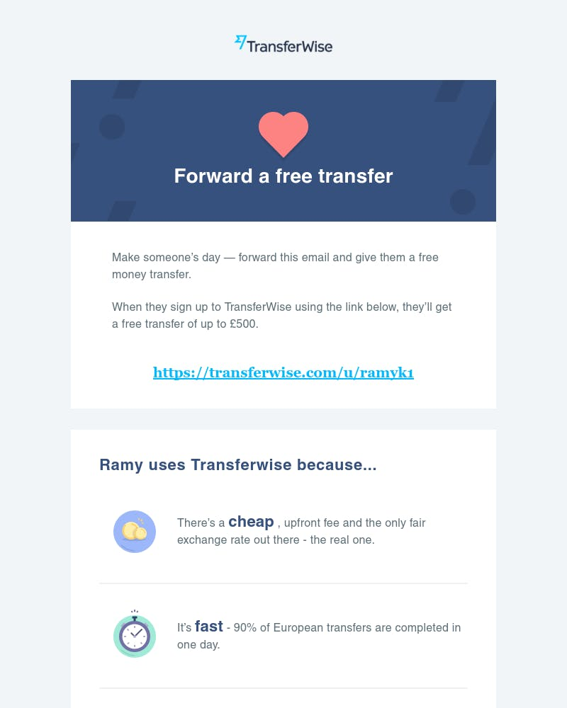 Screenshot of email from: TransferWise <support@transferwise.com>