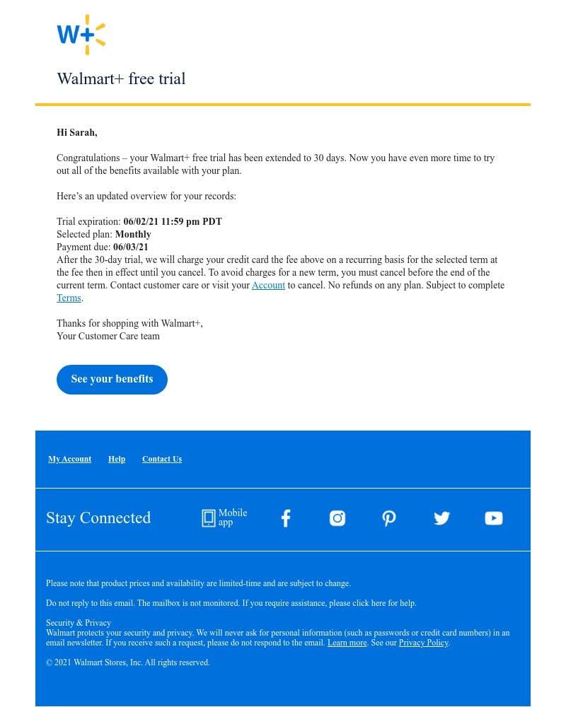 Upgrading your account on Walmart video screenshot