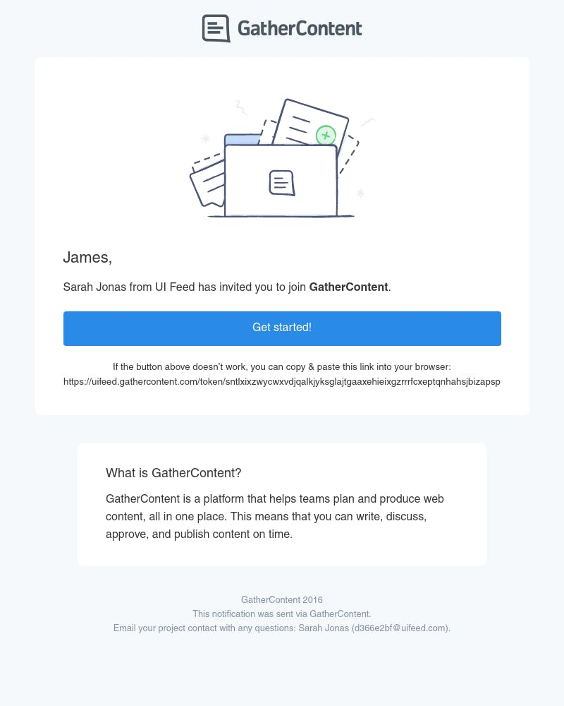 Screenshot of email from: support@gathercontent.com
