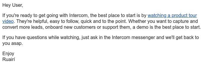 Screenshot of email from: Ruairí from Intercom <ruairi@intercom.io>