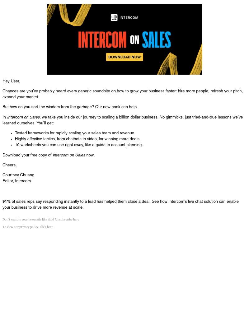 Screenshot of email from: hello@intercom.com