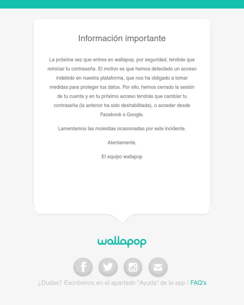 Screenshot of email from: info@info.wallapop.com