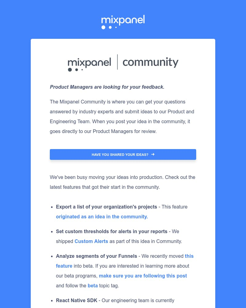 Screenshot of email from: community@mixpanel.com