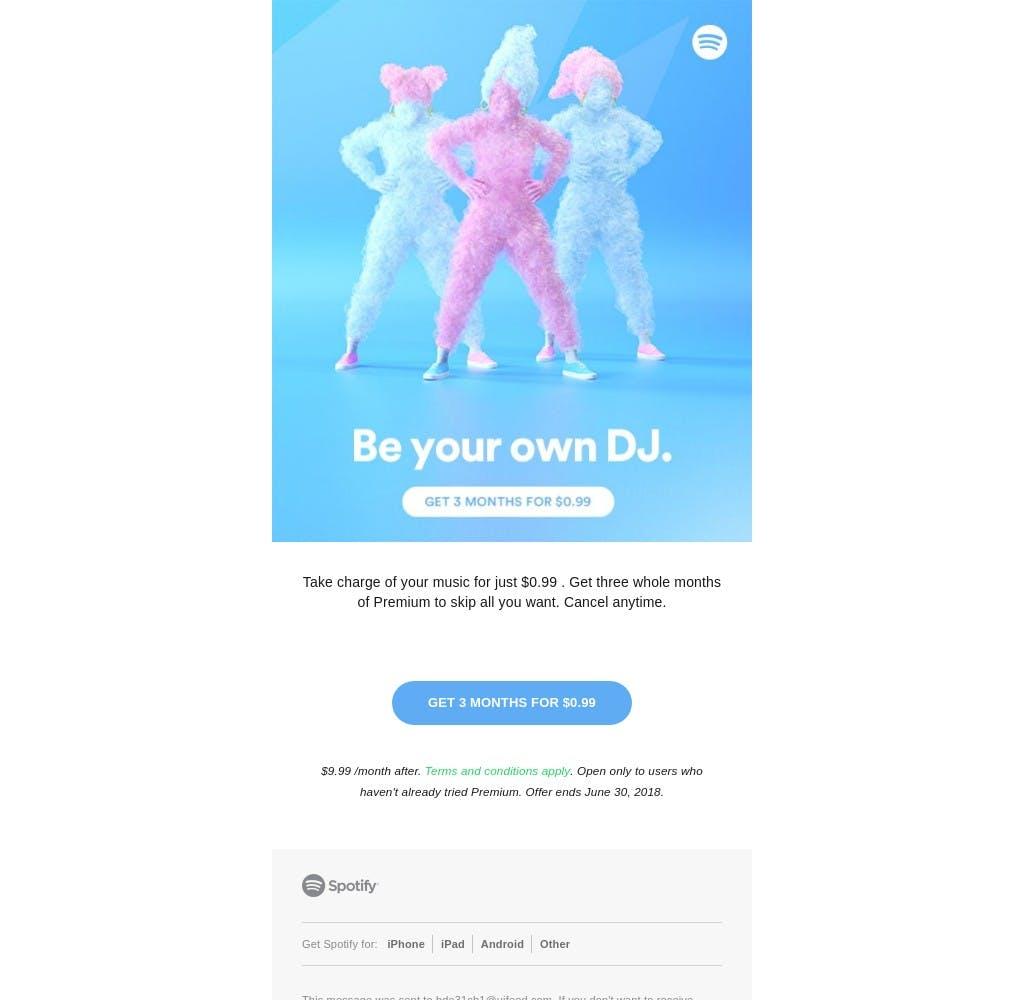 Registered user on Spotify - Email design inspiration