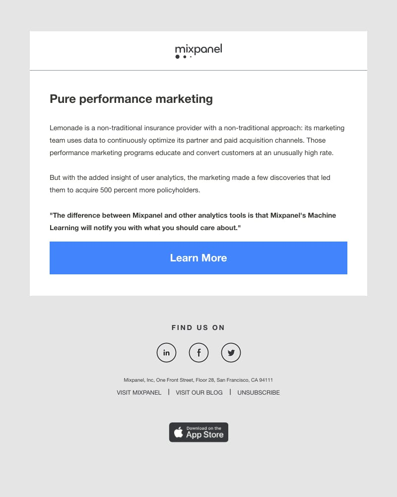 Screenshot of email from: pat.nelix@mixpanel.com